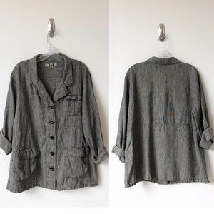 FLAX linen jacket black and white button down